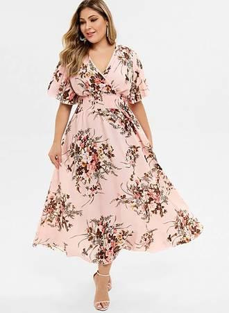 Φόρεμα Μάξι Ροζ Φλοραλ Κρουαζέ Maniags