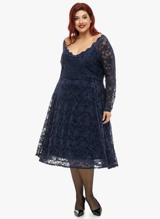 Φόρεμα Navy Δαντέλας Κλος Maniags
