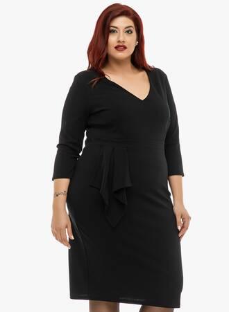 Φόρεμα Midi Μαύρο με Ντραπέ Λεπτομέρεια Maniags
