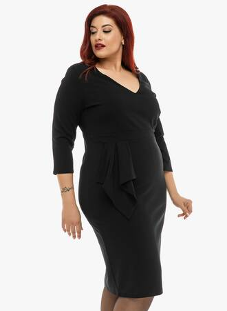 Φόρεμα Midi Μαύρο με Ντραπέ Λεπτομέρεια 2019_12_11-Maniags5341 Maniags