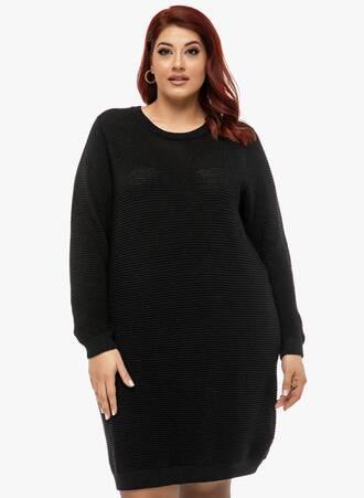 Μπλουζοφόρεμα Πλεκτό Μαύρο Maniags