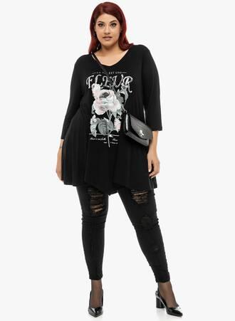 Μπλούζα Μαύρη με Φλοράλ Τύπωμα 'Yours' Maniags
