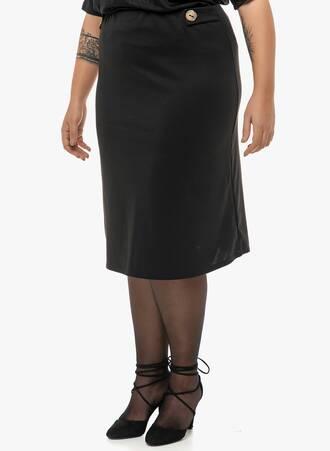 Φούστα Μίντι Μαύρη με Λεπτομέρεια Κουμπιά 'Yours' Maniags