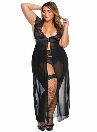 Σετ Μαύρη Ζαρτιέρα με Αισθησιακό Διαφανές Φόρεμα Maniags