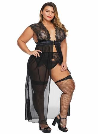 Σετ Μαύρη Ζαρτιέρα με Αισθησιακό Διαφανές Φόρεμα LC31223-2-3 Maniags