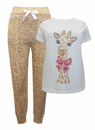 Πυτζάμα Βαμβακερή Giraffe NW0643-WHITEMIX-05 Maniags