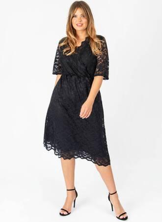 Φόρεμα Δαντέλας Μίντι Ντραπέ Maniags