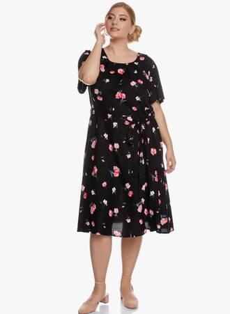 Midi Φόρεμα Φλοραλ Μαύρο 'Yours' Maniags