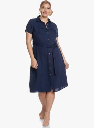 Σεμιζιέ Φόρεμα Midi Navy Maniags