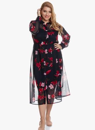Σεμιζιέ Φόρεμα Navy Floral Maniags