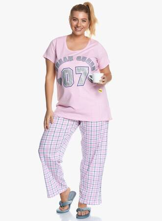 Πυτζάμα Ροζ με Καρό Παντελόνι 'Yours' Maniags