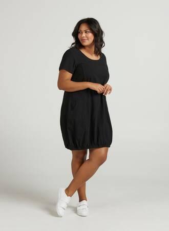 Βαμβακερό Μαύρο Μίντι Φόρεμα με Τσέπες Maniags