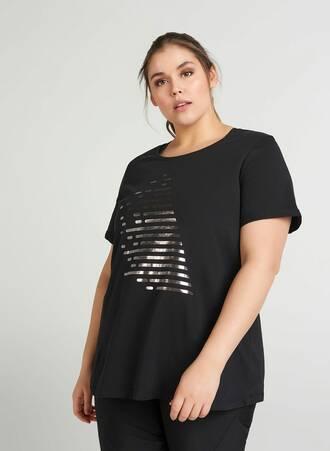 Αθλητικό T-shirt με Ασημί Τύπωμα Maniags