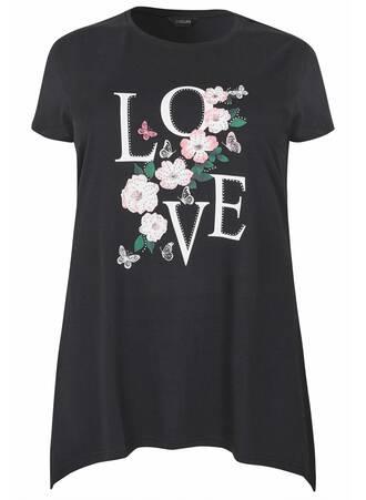 Μπλούζα Μαύρη με Τύπωμα Love 'Yours' Maniags