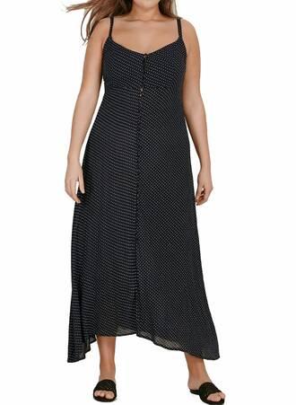 Μάξι Φόρεμα Μαύρο Πουά Maniags