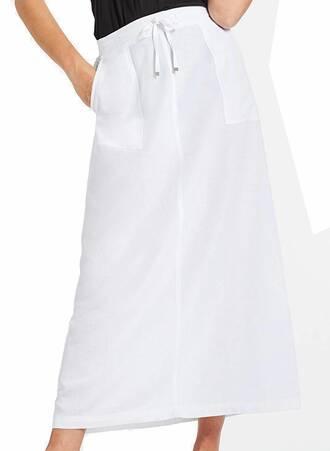 Λευκή Φούστα Λινή Μάξι Maniags