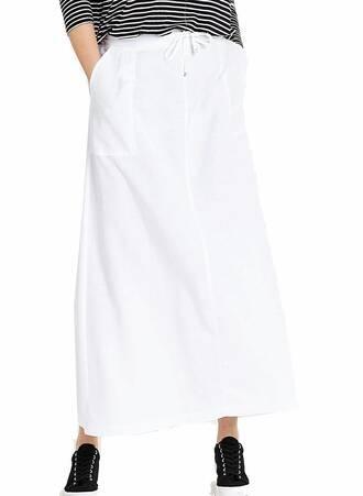 Λευκή Φούστα Λινή Μάξι SK0979-WHITE-03 Maniags