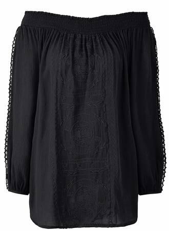 Μαύρη Έξωμη Μπλούζα Crinkle TP5101-01 Maniags