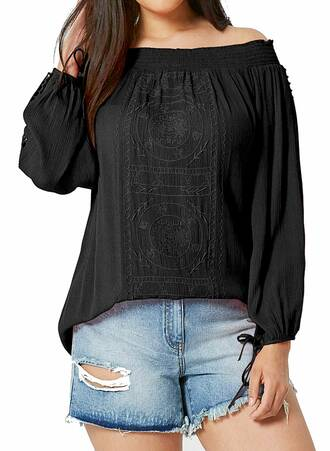 Μαύρη Έξωμη Μπλούζα Crinkle Maniags