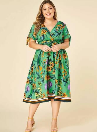 Φόρεμα Κρουαζέ Πράσινο Φλοραλ Maniags