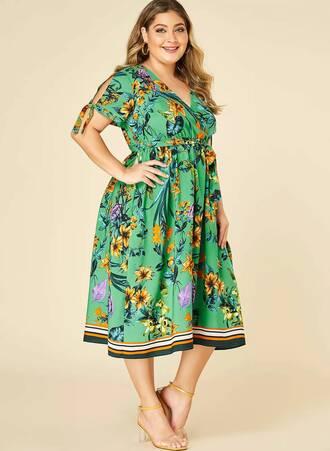 Φόρεμα Κρουαζέ Πράσινο Φλοραλ Untitled-48 Maniags