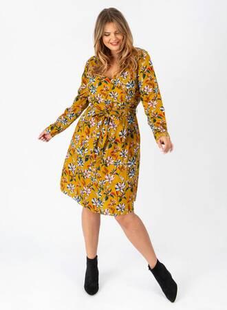 Φόρεμα Μουσταρδί Midi Κρουαζέ Φλοραλ Maniags