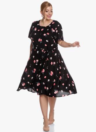 Midi Φόρεμα Φλοραλ Μαύρο 'Yours' 2020_05_27_Maniags5968 Maniags
