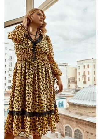 Φορέμα Midi Λεοπάρ Λεπτομέρειες Δαντέλας Maniags