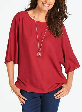 Κόκκινη Μπλούζα με Bubble Τελείωμα Maniags