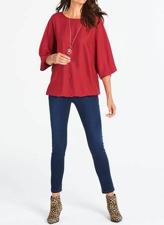 Κόκκινη Μπλούζα με Bubble Τελείωμα TP8096-RED-04 Maniags
