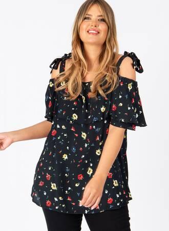 Μπλούζα Φλοράλ Bardot με Δέσιμο Maniags