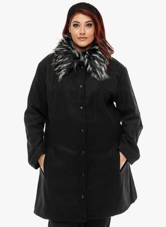 Παλτό Μαύρο με Γούνα στο Γιακά Maniags