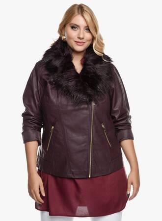 Jacket με Δερμάτινη Όψη Μπορντό 2020_09_15-Maniags3501 Maniags