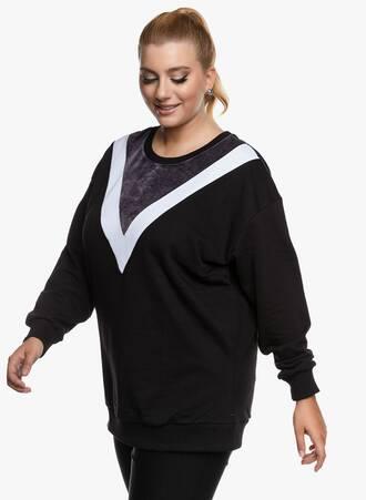 Φούτερ Μπλούζα Μαύρη με Λευκή Λεπτομέρεια 2020_09_16-Maniags4659 Maniags