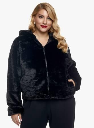 Μαύρο Jacket από Faux Γούνα Maniags