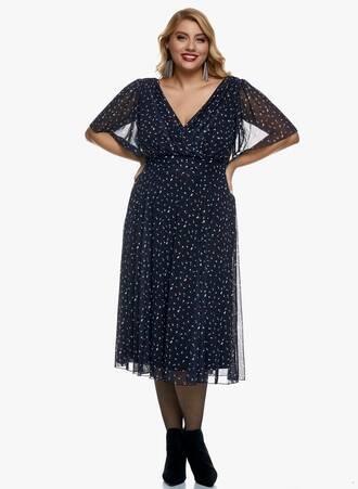 Midi Φόρεμα Μαύρο Φλοράλ με Angel Sleeve Maniags