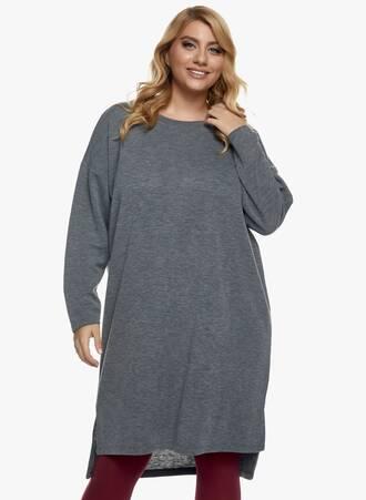 Πλεκτό Φόρεμα Midi Γκρι Maniags