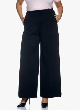 Μαύρη Παντελόνα με Άνοιγμα στο Πλάι Maniags