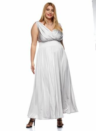 Μάξι Φόρεμα Κρουαζέ Ασημί Maniags