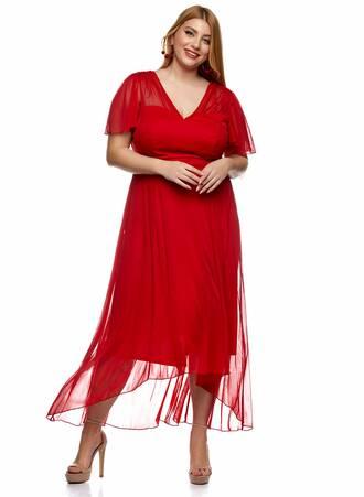 Κόκκινο Φόρεμα Σιφόν Angel Sleeve Maniags