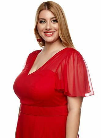 Κόκκινο Φόρεμα Σιφόν Angel Sleeve 2021_01_25-Maniags0216 Maniags
