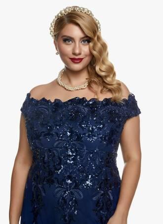 Navy Μάξι Έξωμο Φόρεμα με Αστραφτερό Κέντημα 2020_11_02_Maniags_0126 Maniags