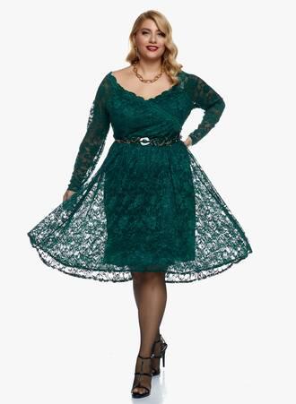 Φόρεμα Midi Σμαραγδί Ελαστική Δαντέλα 2020_11_02_Maniags_0197 Maniags