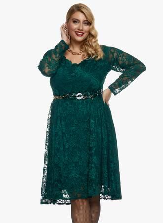 Φόρεμα Midi Σμαραγδί Ελαστική Δαντέλα Maniags