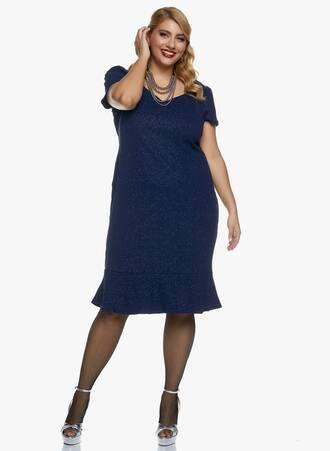 Midi Navy Φόρεμα με Glitter Maniags