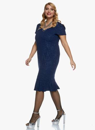 Midi Navy Φόρεμα με Glitter 2020_11_02_Maniags_0387 Maniags