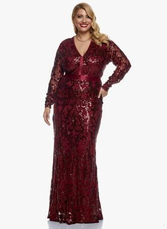 Μάξι Φόρεμα Wine με Παγιέτα Maniags