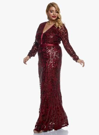 Μάξι Φόρεμα Wine με Παγιέτα 2020_11_02_Maniags_0599 Maniags