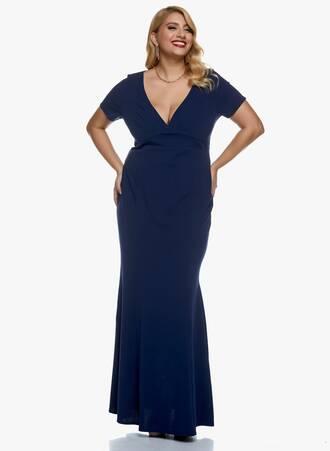 Φόρεμα Navy Μάξι Scuba Crepe Maniags