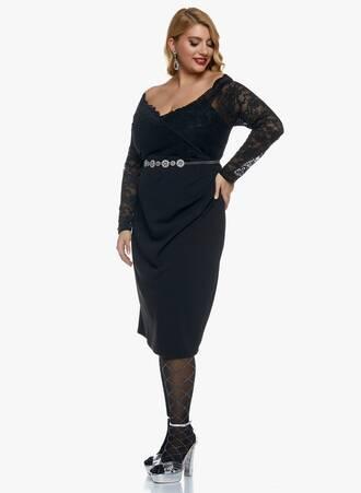 Φόρεμα Μαύρο Midi με Δαντέλα 2020_11_02_Maniags_0911 Maniags